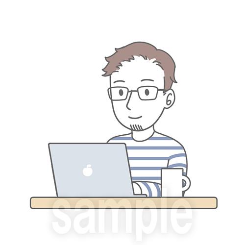パソコンで作業をする男性