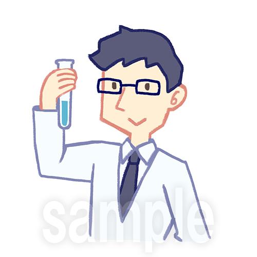 試験管をみる研究者