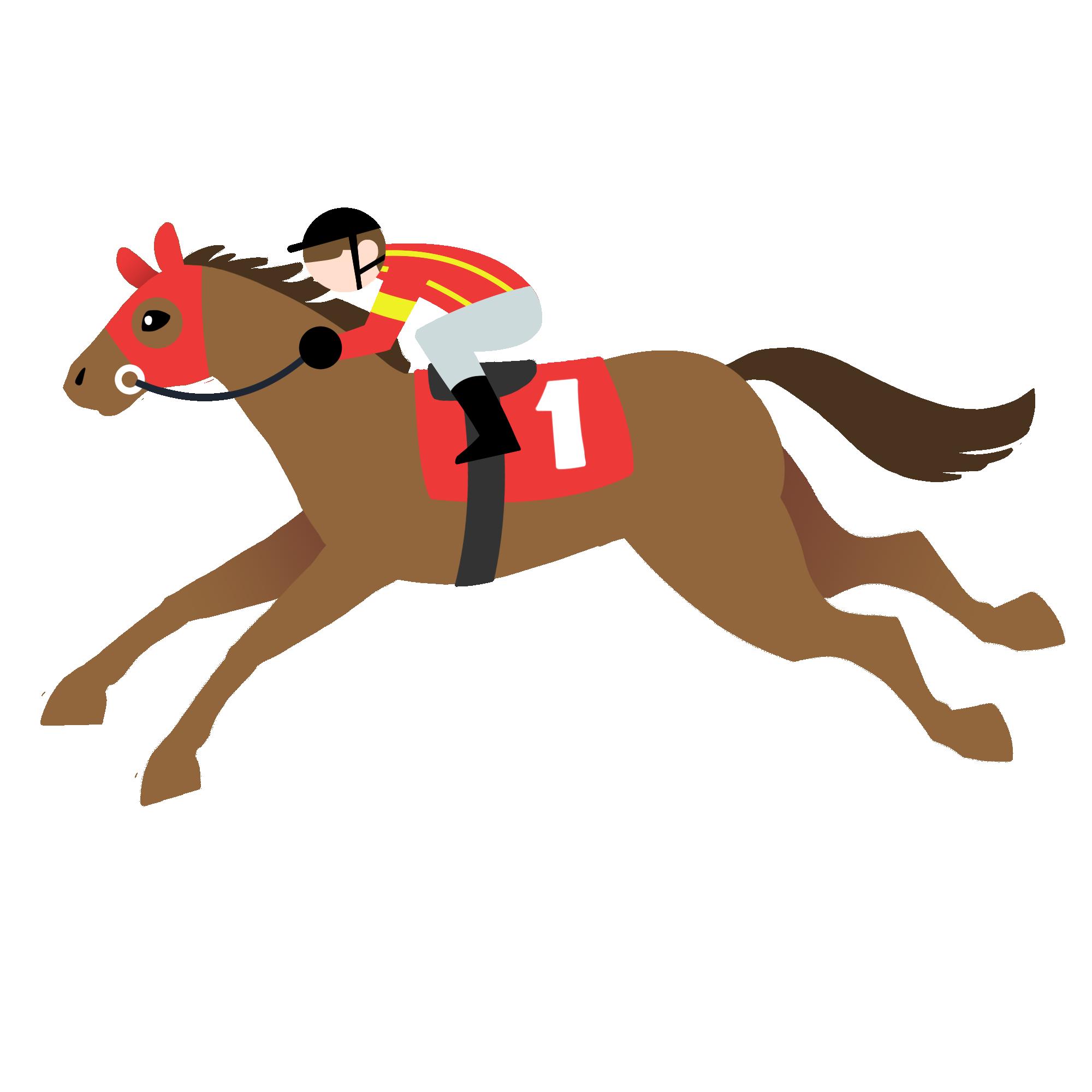 栗毛の走る馬とジョッキー