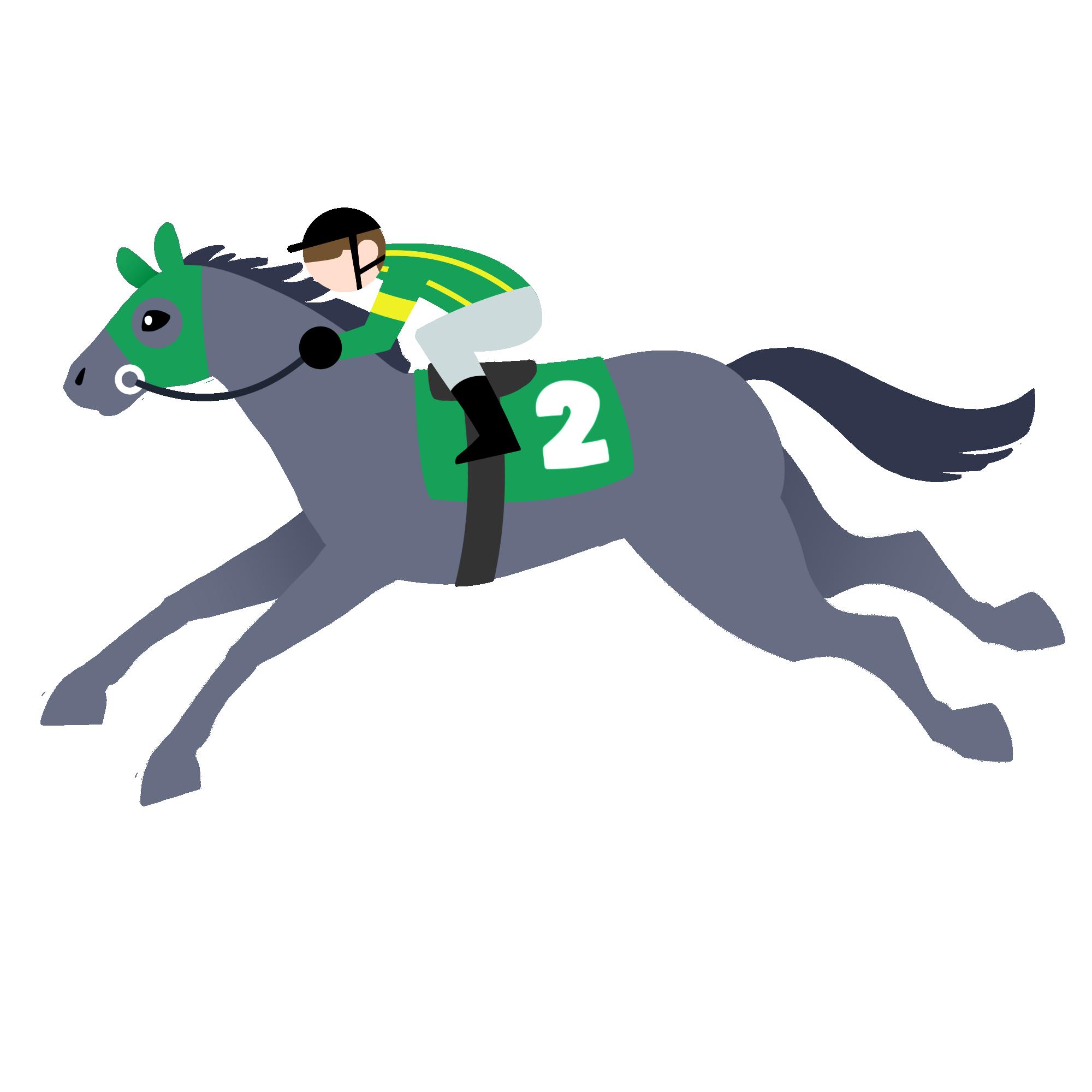 芦毛の走る馬とジョッキー