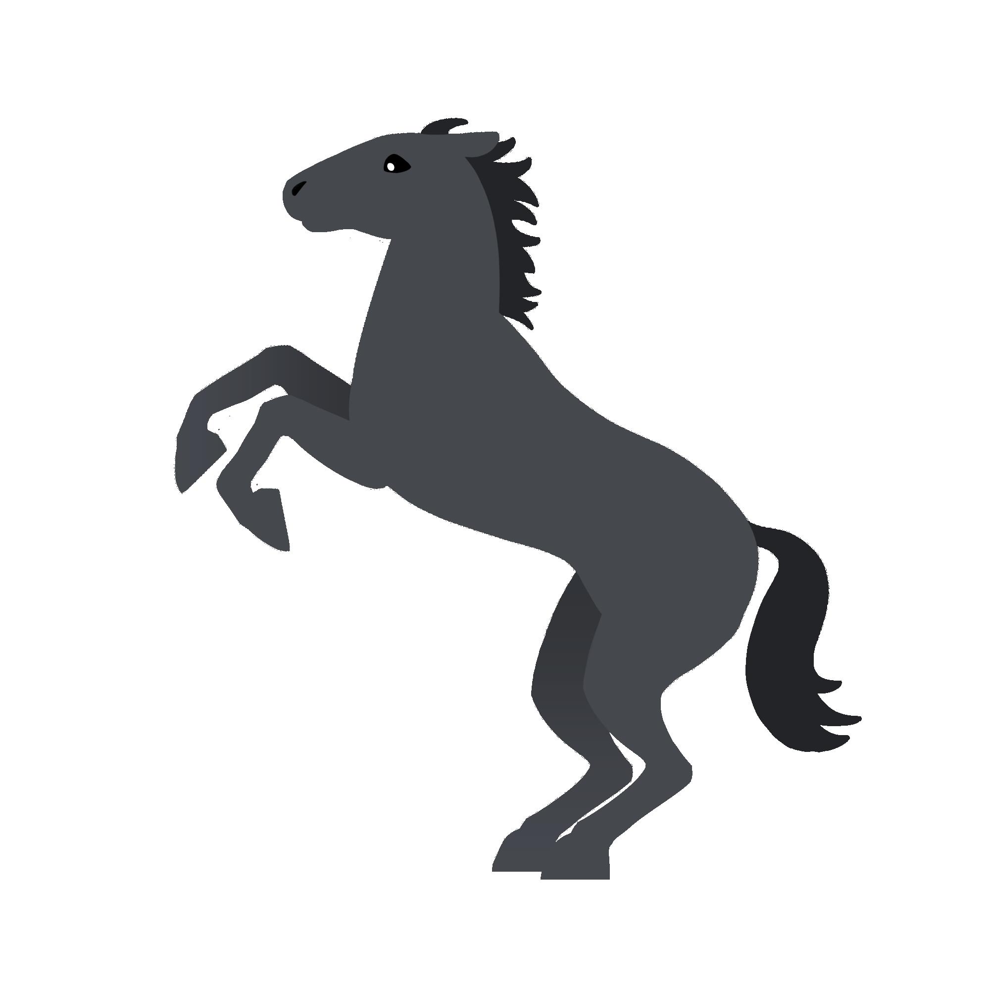 跳ねる青鹿毛の馬